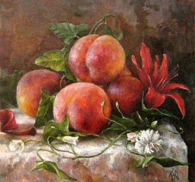 Картина натюрморт «Натюрморт с персиками» купить живопись для современных интерьеров Киев