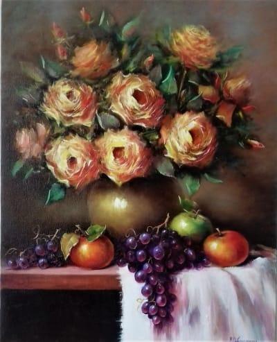 Картина «Натюрморт с виноградом» купить живопись для современных интерьеров Украина