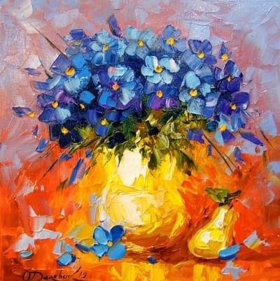 Картина маслом цветы «Натюрморт» купить живопись для современных интерьеров Украина