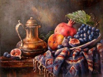 Картина «Натюрморт с гранатом» - картины для современных интерьеров Украина - живопись натюрморт