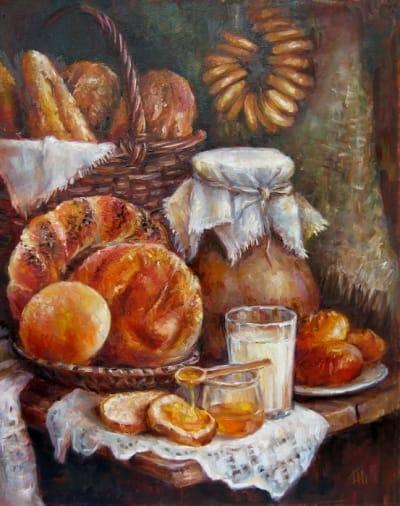 Картина «Натюрморт с хлебом» купить современную живопись для интерьеров Украина