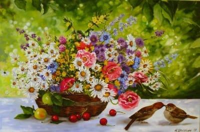 Картина цветы «Яркий натюрморт с полевыми цветами» купить живопись для современных интерьеров Украина
