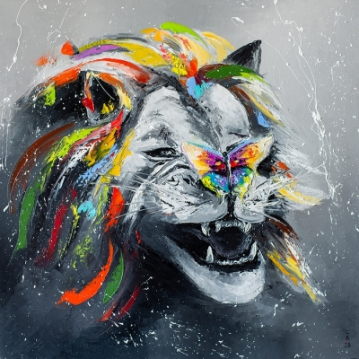 Картина маслом «Не дразни меня!» купить живопись для современных интерьеров Украина