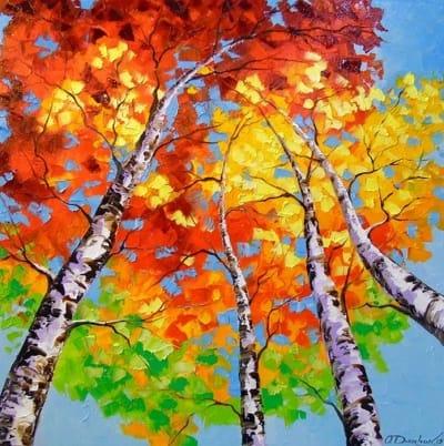 Картина маслом природа осень «Небесные березы» купить живопись для современных интерьеров Украина