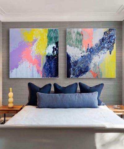 Картина диптих абстракция маслом «Смесь моих желаний» -  живопись для современных интерьеров