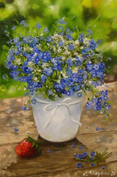 Картина цветы «Незабудки и клубника» купить живопись для современных интерьеров Украина
