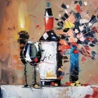 Картина натюрморт «Бокал вина» купить живопись для современных интерьеров Киев