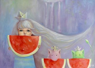 Картина для детской комнаты «Новая Зеландия. Летние арбузы и водопады» купить картину маслом Киев