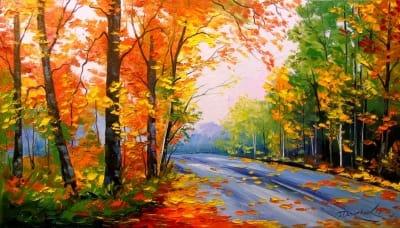 Картина маслом «Осенняя дорога» - живопись для современных интерьеров Украина