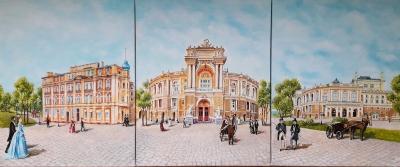 Триптих городской пейзаж «Одесский оперный театр» купить живопись для современных интерьеров Украина