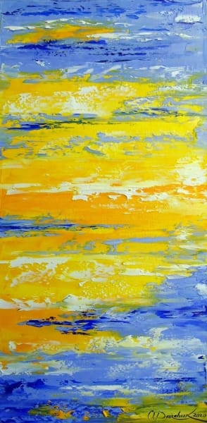 Абстрактная картина «Однажды в небе» купить живопись для современных интерьеров Киев