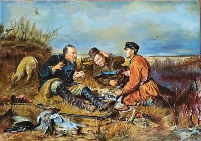 Картина «Охотники на привале» копия Перова купить живопись для современных интерьеров Украина