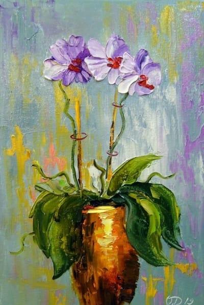 Картина маслом цветы «Орхидея» купить живопись для современных интерьеров Киев
