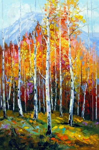 Картина маслом пейзаж «Осенние березы» купить живопись для современных интерьеров Украина