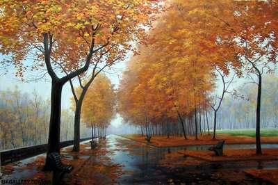 Картина пейзаж Осень. Парк.