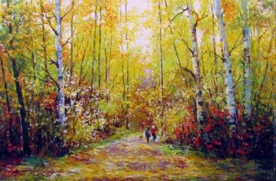 Картина маслом пейзаж «Осень» купить современную живопись Украина