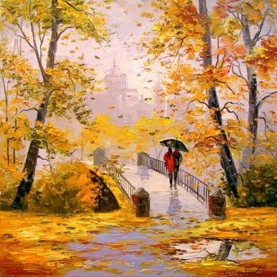 Картина «Осенняя прогулка после дождя»