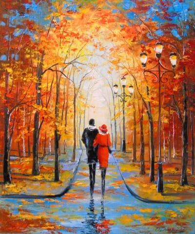Картина «Осенняя прогулка в парке»
