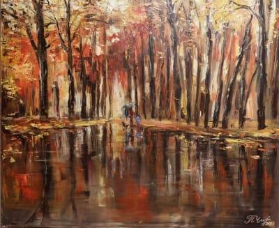 Картина пейзаж «Осенняя прогулка» купить живопись Украина