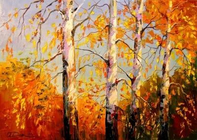 Картина маслом осенний пейзаж «Осенние березы» - картины для современных интерьеров Украина