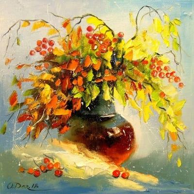 Картина маслом цветы «Осенний букет» живопись для современных интерьеров Украина