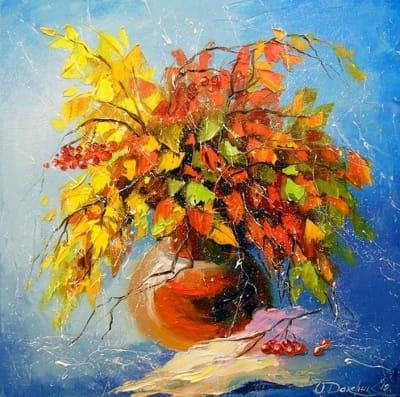 Картина маслом «Осенний букет» купить живопись для современных интерьеров Украина