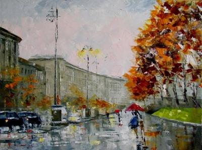 Картина маслом городской пейзаж «Осенний дождь» купить живопись для современных интерьеров Украина