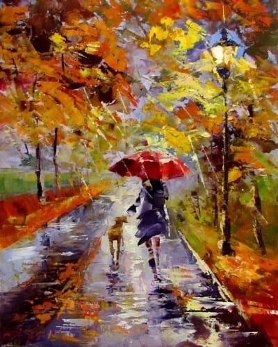 Картина маслом пейзаж «Осенний дождик» - живопись для современных интерьеров Украина