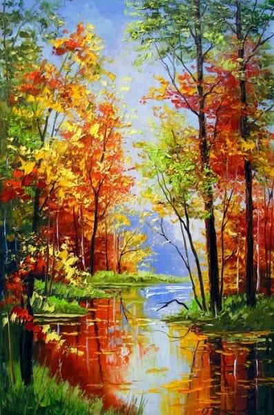 Картина маслом осенний пейзаж «Осенний пруд» купить живопись для современных интерьеров Украина