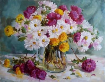 Картина «Осенний вальс» - живопись для современных интерьеров Украина - цветы