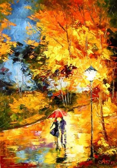 Картина маслом пейзаж «Осенний вечер» - живопись для современных интерьеров Украина