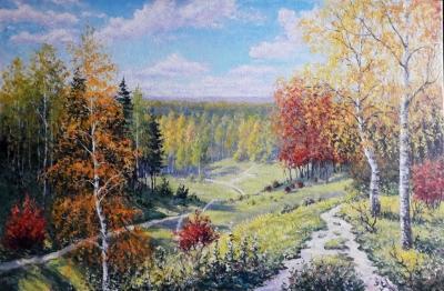 Картина маслом пейзаж «Осенние тропы» купить современную живопись Украина