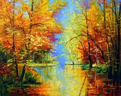 Картина маслом осенний пейзаж «Осенняя тишина» купить живопись для современных интерьеров Украина