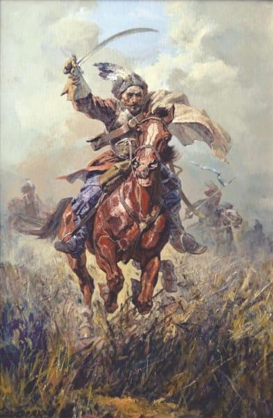 Картина маслом историческая тематика «Отаман» купить живопись для современных интерьеров Украина