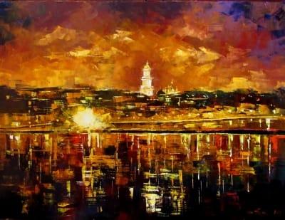 Картина маслом пейзаж «Отражение» купить живопись для современных интерьеров Украина