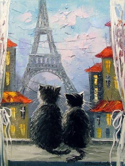 Картина маслом детям «Парижане» купить живопись для современных интерьеров Украина