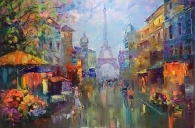 Картина маслом городской пейзаж Франция «Париж» купить живопись для современных интерьеров Украина