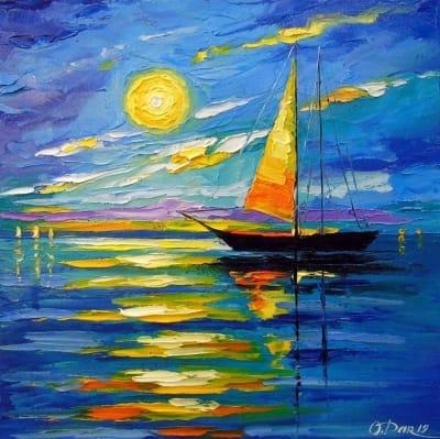 Картина маслом морской пейзаж «Парусник на закате» купить живопись для современных интерьеров Украина
