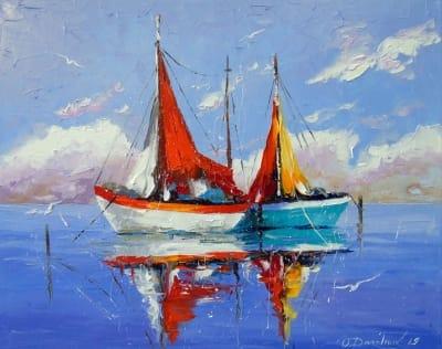Картина маслом морской пейзаж «Парусники на якорях» - купить живопись для современных интерьеров Украина