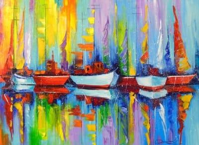 Картина маслом морской пейзаж «Парусники у причала» купить живопись для современных интерьеров Украина