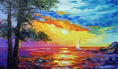 Картина маслом морской пейзаж «Парусник на рассвете» купить живопись для современных интерьеров Украина