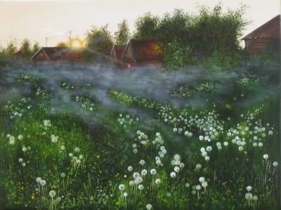 Картина пейзаж «Утро. Белые одуванчики» купить живопись для современных интерьеров Украина