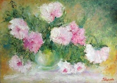 Картина маслом цветы весенние пионы «Пионы. Ощущение весны» живопись Киев для современных интерьеров