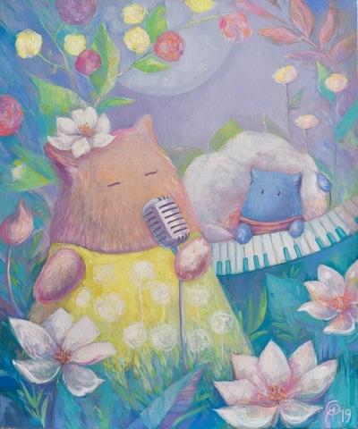 Картина детям «Пухнастики. Песня» купить картину маслом Киев