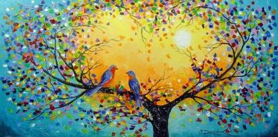 Картина маслом «Песня о любви» купить живопись для современных интерьеров Украина