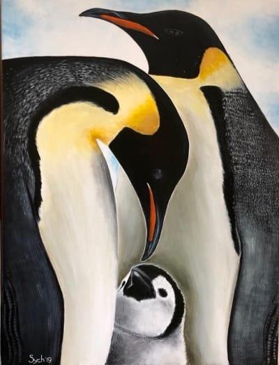 Картина акрил анималистика «Пингвины» купить живопись для современных интерьеров Киев