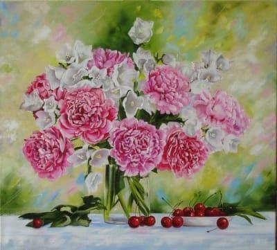 Картина цветы «Пионовая свежесть» купить живопись для современных интерьеров Украина