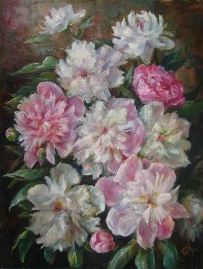 Картина цветы «Пионы» купить живопись для современных интерьеров Украина