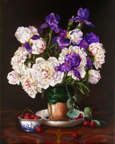 Картина цветы «Пионы и ирисы» - купить живопись для современных интерьеров Украина
