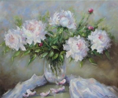 Картина живопись с цветами «Пионы» купить живопись для современных интерьеров Украина